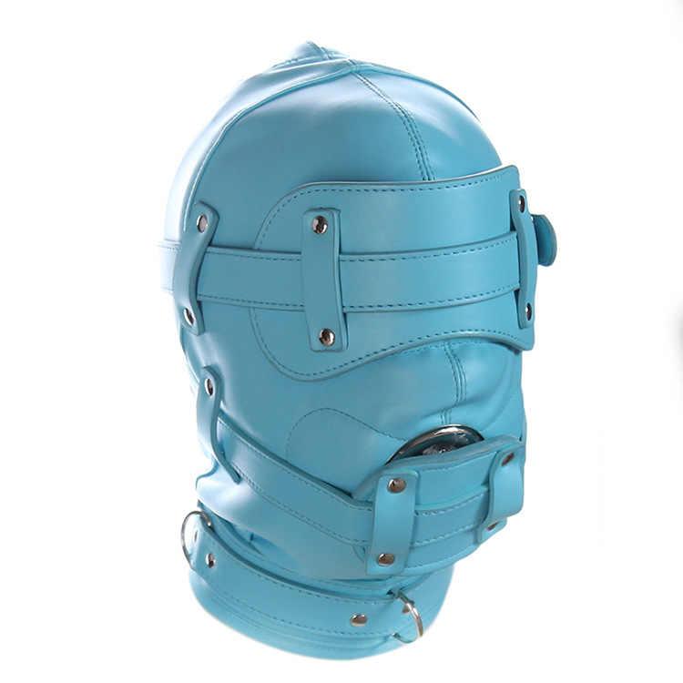 Секс-игра все включено капот маска пенис пробки форсированные мундштук учебные принадлежности БДСМ бондаж латекс фетиш маска