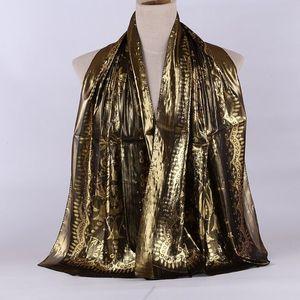 Image 5 - 1pc Women Retro Hijab 100% Silk Jacquard Scarf Ladies Long Shawls Wraps Pashmina Islam Headband Bufandas Muslim Sjaal 55*165CM