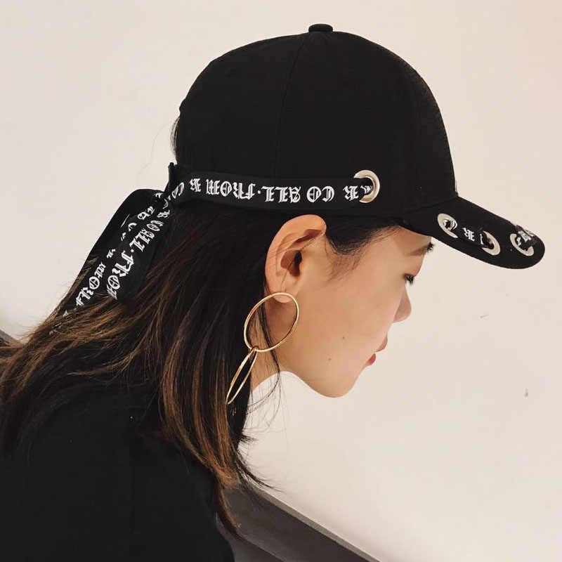 4bd3c2430c96ee Harajuku long ribbon letter hat female summer fashion street baseball cap  black sun visor tide male