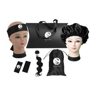 Extensões feitas sob encomenda luxuosas do cabelo humano das mulheres pacotes que empacotam conjuntos, caixa do descanso, bandana, bonnet, etiquetas do envoltório, etiqueta do cair, saco do cetim