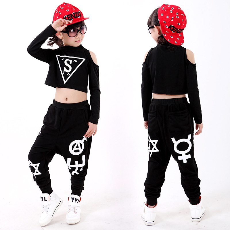 Children Girl Long Sleeved Black Hip Hop Hiphop Ds Jazz Dance Costumes Clothes T Shirt Leotard Harem Pants