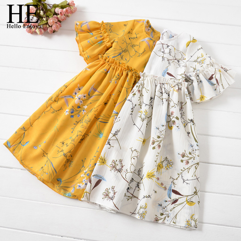 HE Hello Enjoy Kids Clothes Girl Summer Dress Casual Flare Sleeve Flare Sleeve Ruched Floral Print Dress Infantil Dresses Cute