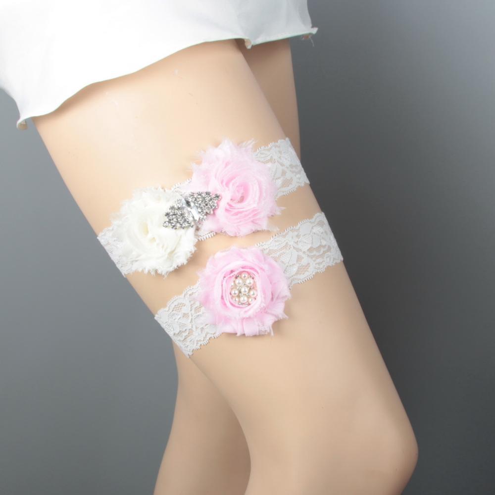 Дизайн кружевная отделка потертый цветок Свадебная подвязка для свадьбы подвязка для невесты синий потертый цветок ручной работы - Цвет: Ivory and Pink