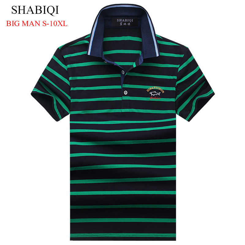 Горячая Распродажа 2019 Новое поступление Мужская рубашка поло модная хорошее качество Классическая полосатая Мужская рубашка поло футболка размера плюс S-10XL