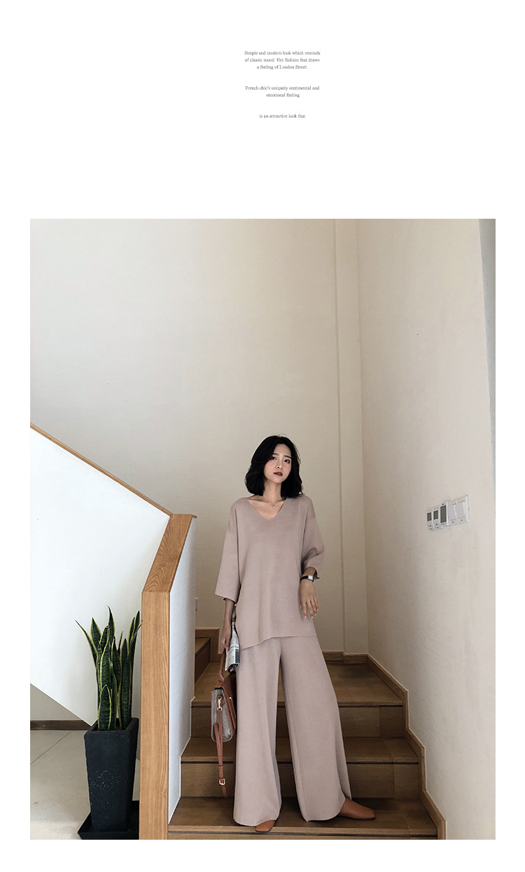 Knitting Female Sweater Pantsuit For Women Two Piece Set Knitted Pullover V-neck Long Sleeve Bandage Top Wide Leg Pants  Suit 18