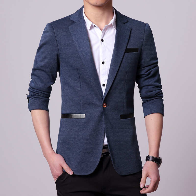 Mens Fashion Slim Fir Blazers Casual Blazer Masculino Slim Suit Jacket Men Black Blue Gray-in ...