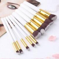 10Pcs Professional Makeup Brush Sets Brushes Black Soft Synthetic Hair Make Up Tools Kit Cosmetic Beauty