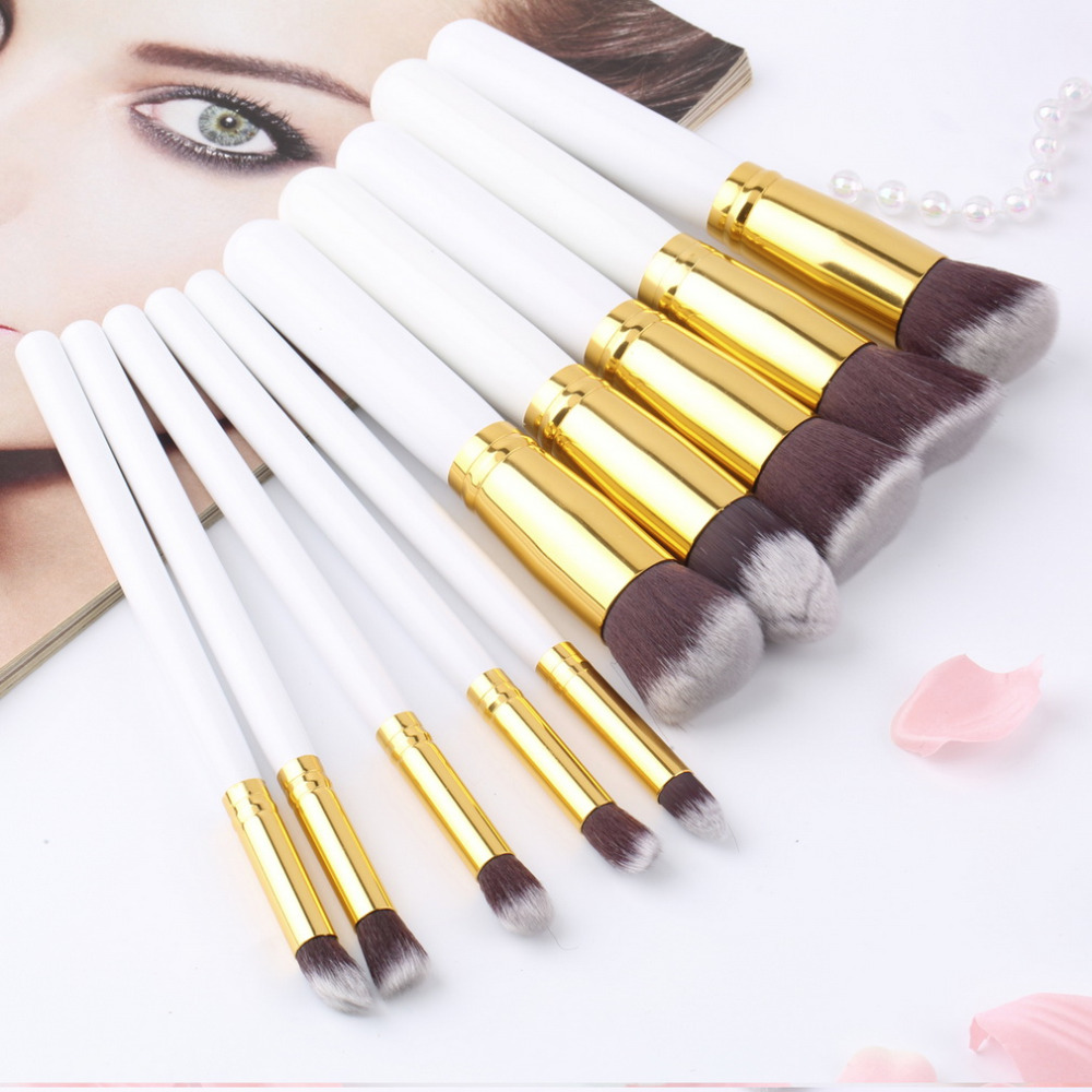 10Pcs Professional Makeup Brush Sets Brushes Black Soft Synthetic Hair Make up...