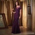 Roxo da Sereia Mãe Da Noiva Do Laço Vestidos para Casamentos com Mangas Nupcial Do Noivo Mãe Vestidos Vestidos de Madrinha