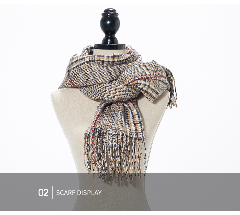 2019 New Winter Autumn Wool Knitted Women Scarf Plaid Warm Cashmere Scarves Shawls Luxury Brand Neck Lady Wrap High Quality (15)
