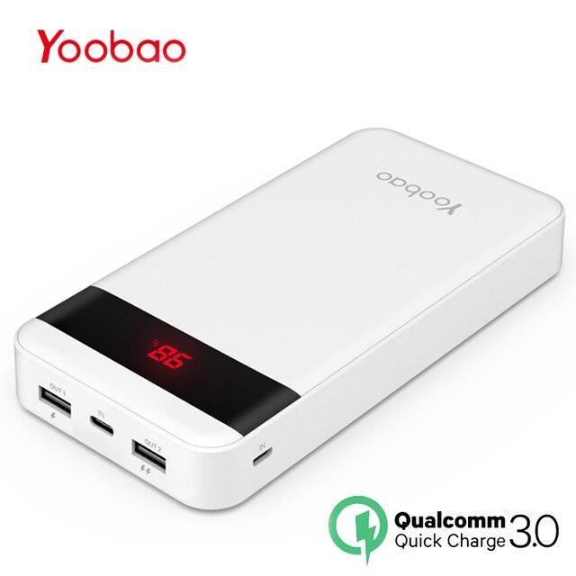 Yoobao Quick Charge 3,0 power Bank 20000 мАч для Xiaomi Mi 2 USB power Bank портативный внешний аккумулятор Pover Bank для iPhone 7 6 5