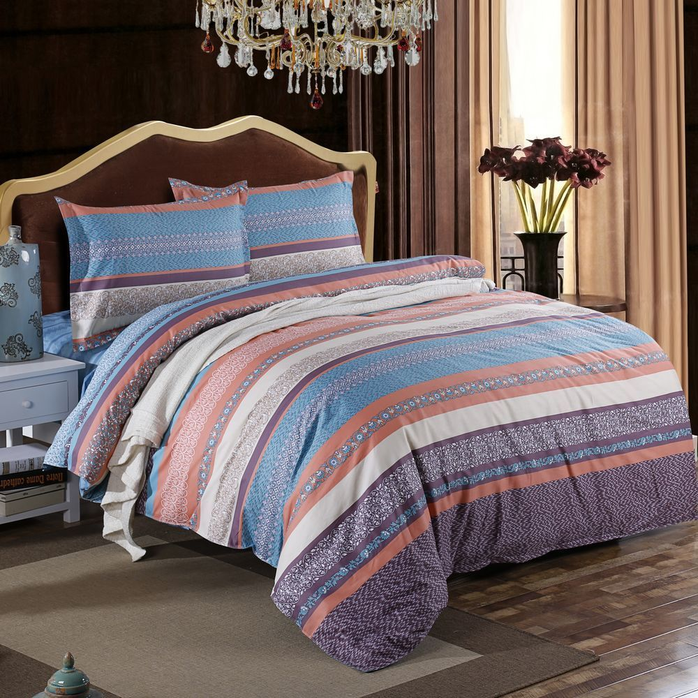 Plaid Bedding Set With Pillowcase Sheet For Boy 100% Cotton Queen Size Geometric Printed Home Duvet Cover Set Bed Line 200*230cm