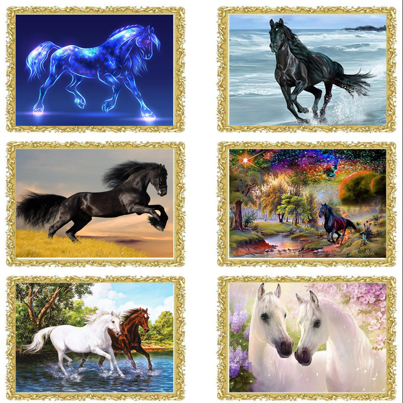 2018 new horse round rhinestone Diamond Embroidery 3d Diy Diamond Painting Handicraft Inlay Mosaic cross stitch crafts fc165