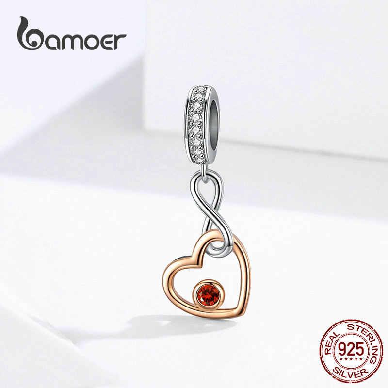 925 Sterling Silver Bloqueio Amor Cor de Rosa de Ouro Coração Infinito Amor Pingente & Charme Fit Pulseira Cobra SCC1239 Originais