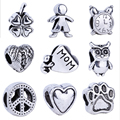 NEW wholesale price 1Pcs Silver Charm European beads Silver big hole Bead fit for pandora chain bracelet/necklace  beads F15
