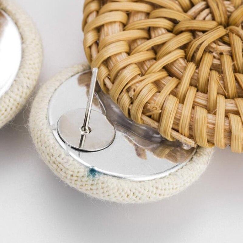 Handmade Pineapple Drop Earrings For Women Wooden Straw Weave Rattan Earrings Big Round Wedding Trendy Dangle Jewelry2019