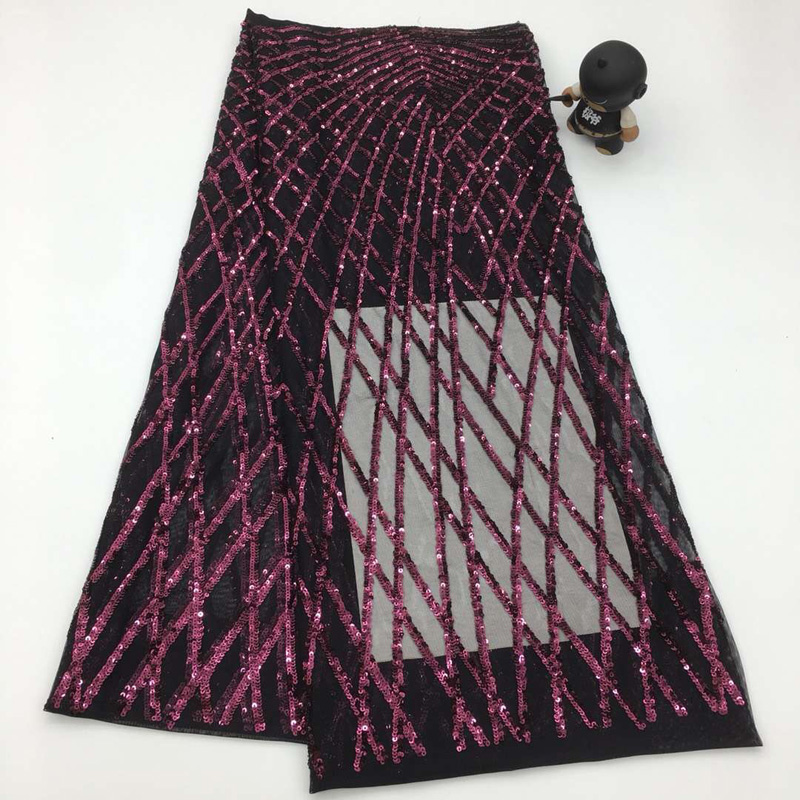 Free shipping (5yards/pc) high density sequins embroidered French net lace fabric in black and fushia for party dress FSQX06Free shipping (5yards/pc) high density sequins embroidered French net lace fabric in black and fushia for party dress FSQX06