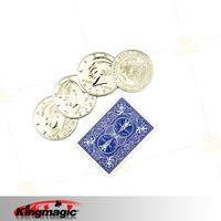 חמה למכירה shiopping חינם ארבעה מטבעות לאחד ( ביג חצי דולר ) קסמים אבזרי magia magie מטבע להראות