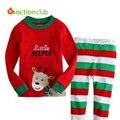 Новый 2016 1 - 7 лет мультфильм детей комплект одежды с длинным рукавом рождественские пижамы хлопка сделал детская свободного покроя пижамы KS402