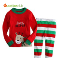 New 2016 1-7 Years Cartoon Children Clothing Set Long Sleeve Christmas Pajamas Cotton Made Children Casual Sleepwear KS402