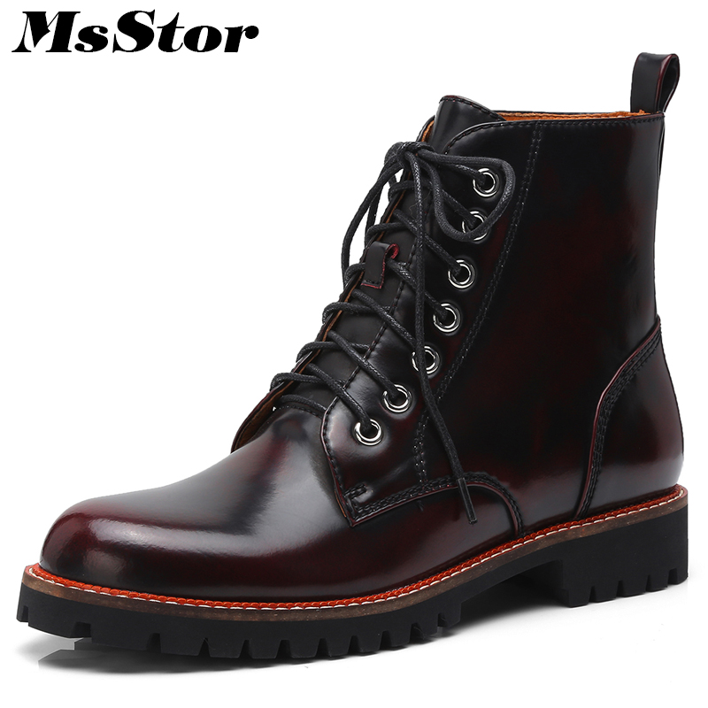 MsStor Women Boots Fashion Cross Tied Lace Up Ankle Boots For Woman Round Toe Square heel Low Heel Martin Boot Shoes For Girl beango fashion metal toe rivets women boots lace up round toe low heel motorcycle booties casual shoes woman big size 34 43eu