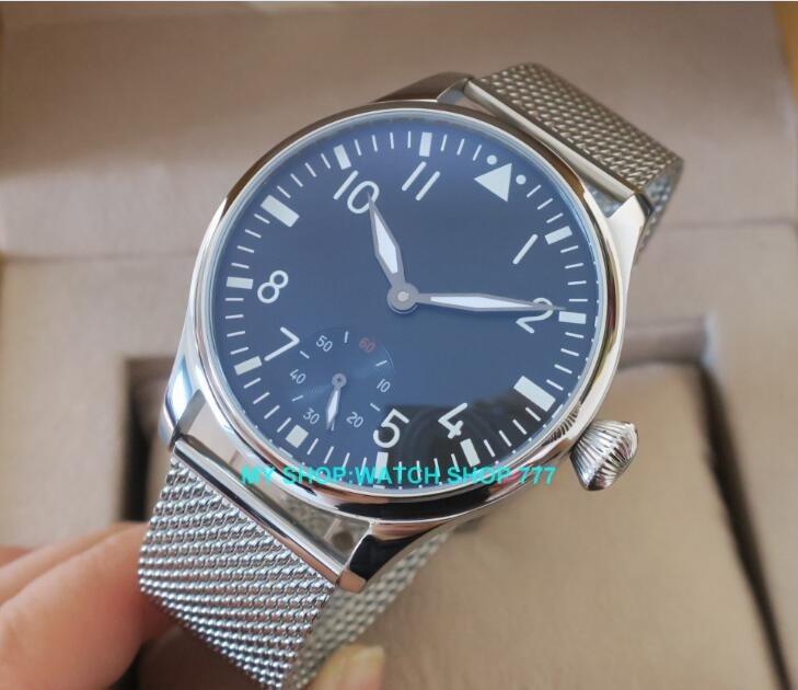44mm PARNIS 6498/ST3621 Mechanische Hand Wind herren uhr Hohe qualität leucht Mechanische Armbanduhren-in Mechanische Uhren aus Uhren bei  Gruppe 1