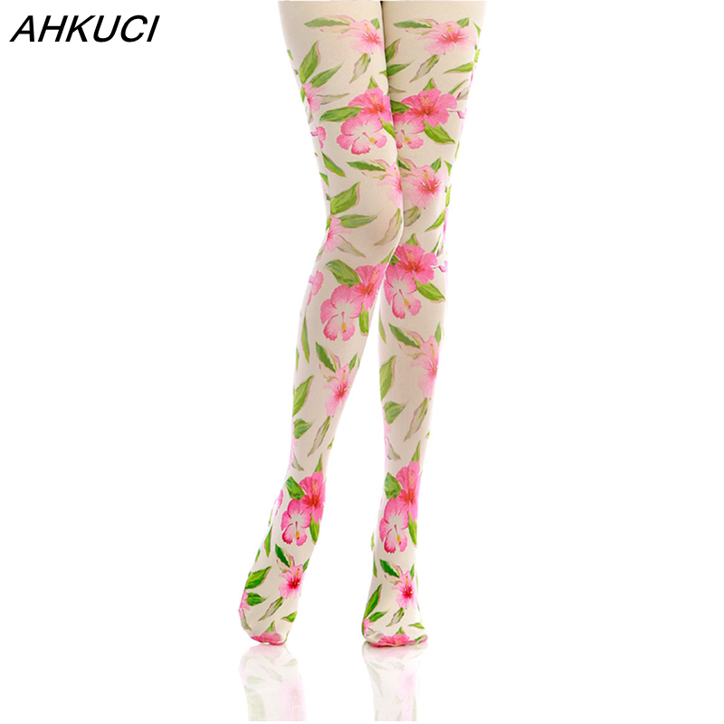 AHKUCI New Women Floral Tights Warm Printed Velvet Winter Pantyhose Cute Stockings For Woman Casual Slim Ladies Nylons Collant