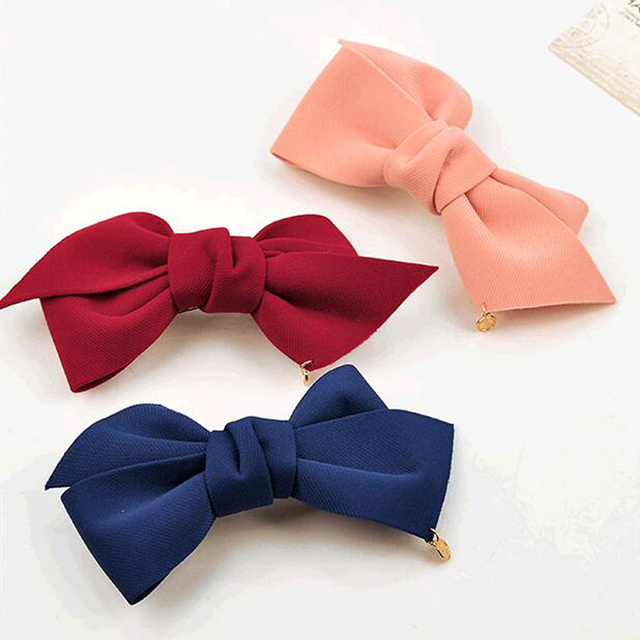 2016 New Arrival Big Solid Cloth Bows Hair Clips Hairpins Hair Accessories for Women Girl Wedding Hair Jewelry Free shipping 3