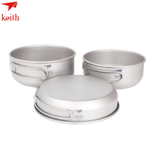 Keith 3Pcs Titanium Pans Bowls Set With Folding Handle Cook Sets Titanium Pot Set Camping Hiking Picnic Cookware Utensils keith ke381 titanium expansion screw hanger set silver grey