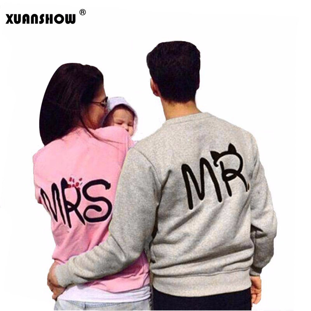New Fashion MS And MR Letters Lovers Couple Long Sleeve Fleece Shirts Hoodie Sweatershirts Casual Tank Top Sudaderas Mujer 2018