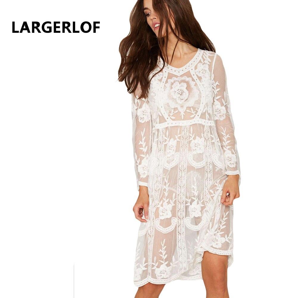 Lace Beach Dress Long Sleeve Robe De Plage Hook Flower Hollow Bathing Suit Cover Ups Swimwear Ladies BK27166