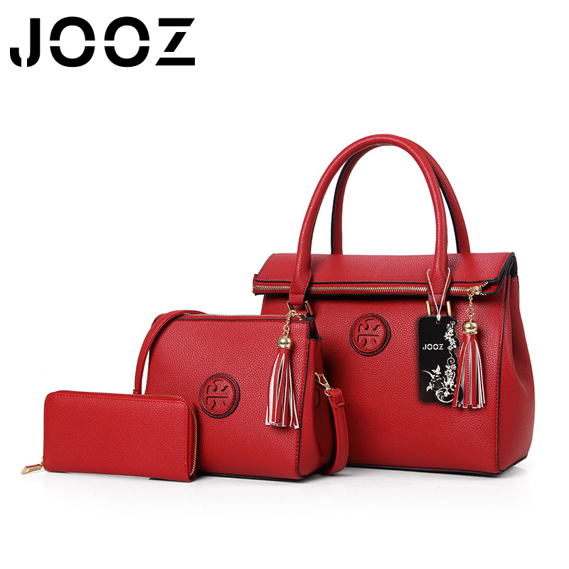 JOOZ Brand New Luxury  PU Leather Tassel Handbag 3 Pcs Composite Bags Set Lady Shoulder Crossbody Women Bag Female Wallet Clutch jooz brand luxury belts solid pu leather women handbag 3 pcs composite bags set female shoulder crossbody bag lady purse clutch