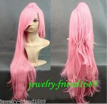 Wholesale heat resistant LY free shipping New wig Cosplay long Pink wig Straight Heat Wig One
