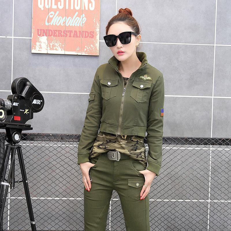 3 piece set women military suits 2017 spring/autumn camouflage