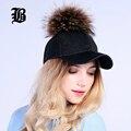 [Flb] atacado Boné De Beisebol Feminino Real Mink Pompons De Peles Reais cap bola chapéu hip hop bonés snapback chapéus de inverno para mulheres