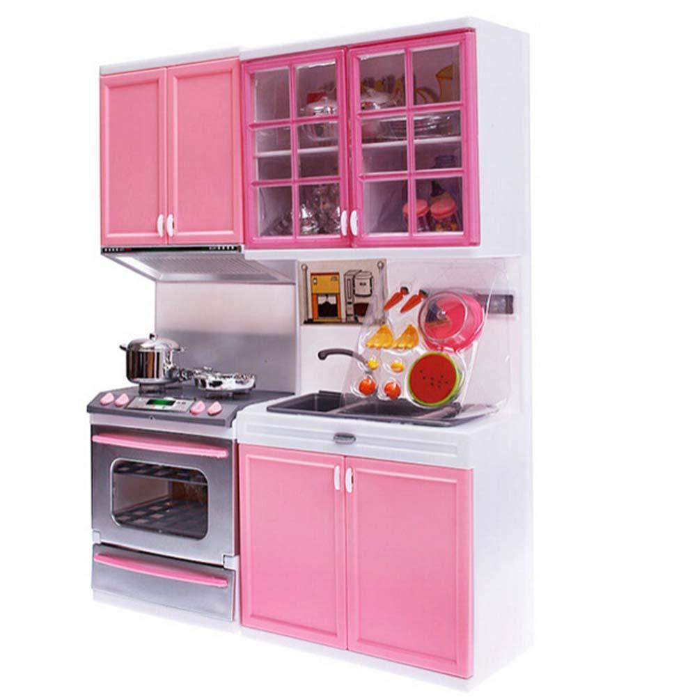Pink Kid Kitchen Fun Toy Pretend Play Cook Cooking Cabinet Stove Set