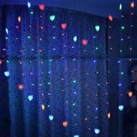 1.5x1.4 m צורת לב LED חג אור מחרוזת מנורת led נטיף קרח וילון מנורת חג מולד חתונת קישוט האיחוד האירופי 220 v 128led 34 לבבות