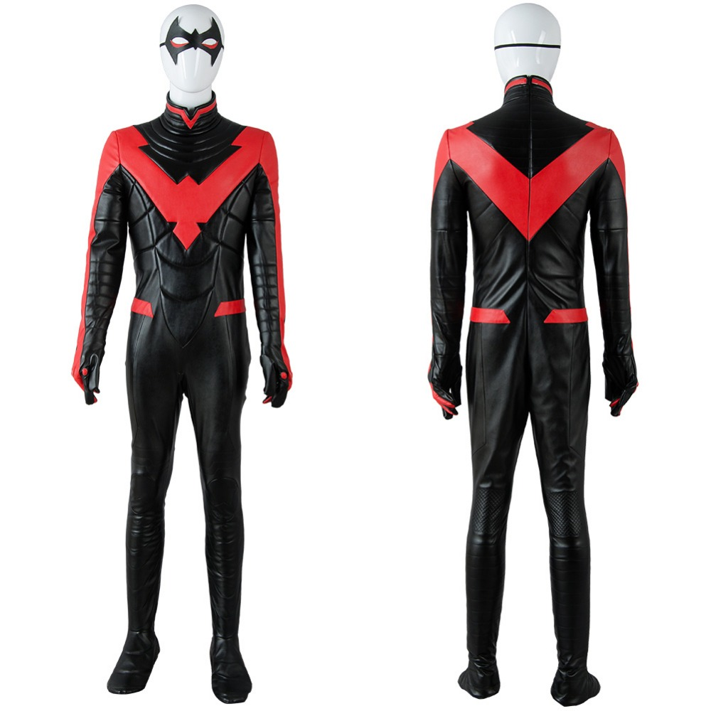Hot Sale Batman Young Justice Nightwing Cosplay Costume New 52 Red Adult Jumpsuit Cosplay Costume Halloween Party Costume