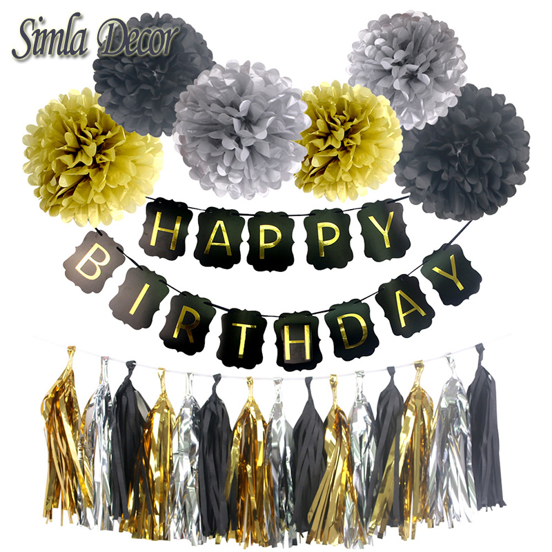 Party Decor Tissue Black Paper Foil Tassels Pom poms Baby Shower Boy Girl Happy Birthday Banner Kids Party Favors Supplies