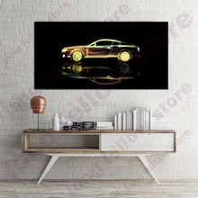 Large Posters and Prints Golden Sports Car Cartoon Picture for Bedroom Office Wall Decor Abstract Artwork Art Home