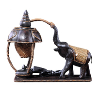 Carved elephant desk lamp antique bamboo woven hotel bedroom decorative desk lamp warm