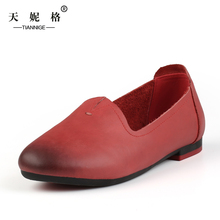 2016 Fashion Original Handmade Flat Shoes Women Slip-On Casual Boat Shoes Full Grain Genuine Leatherladies Shoes TG046