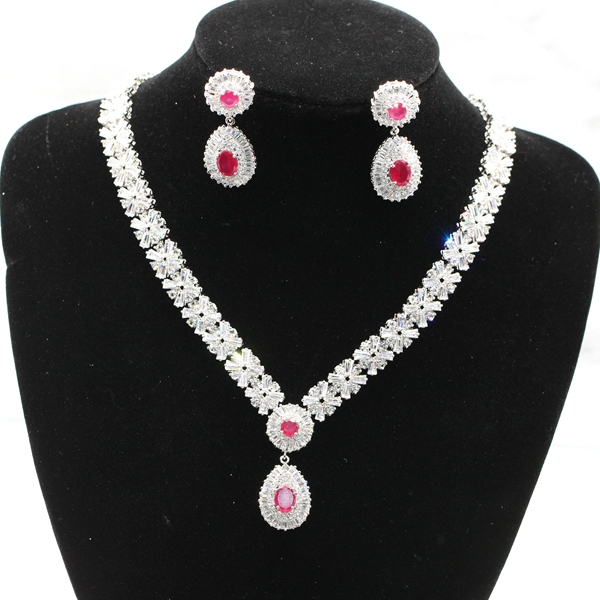 GZJY Fashion Noble jewelry white gold color natural red zircon Austrian crystal necklace earrings set for women orange morganite stylish jewelry set for women white zircon gold color rings earrings necklace pendant bracelets