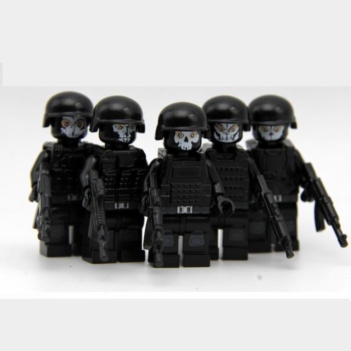 5pcs/set  City Gun  Weapons Swat Police Military Model Kits Bricks Blocks Original Mini Figures Toys