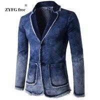 Casual Denim Jacket Suit Men's 2018 New Spring Fashion blazer slim fit masculino Trend Jeans suit Jean Jacket Men Asia plus size
