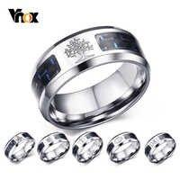 Vnox 8mm personnaliser anneau en Fiber de carbone pour homme gravé arbre de vie acier inoxydable mâle Alliance décontracté personnaliser bande de bijoux