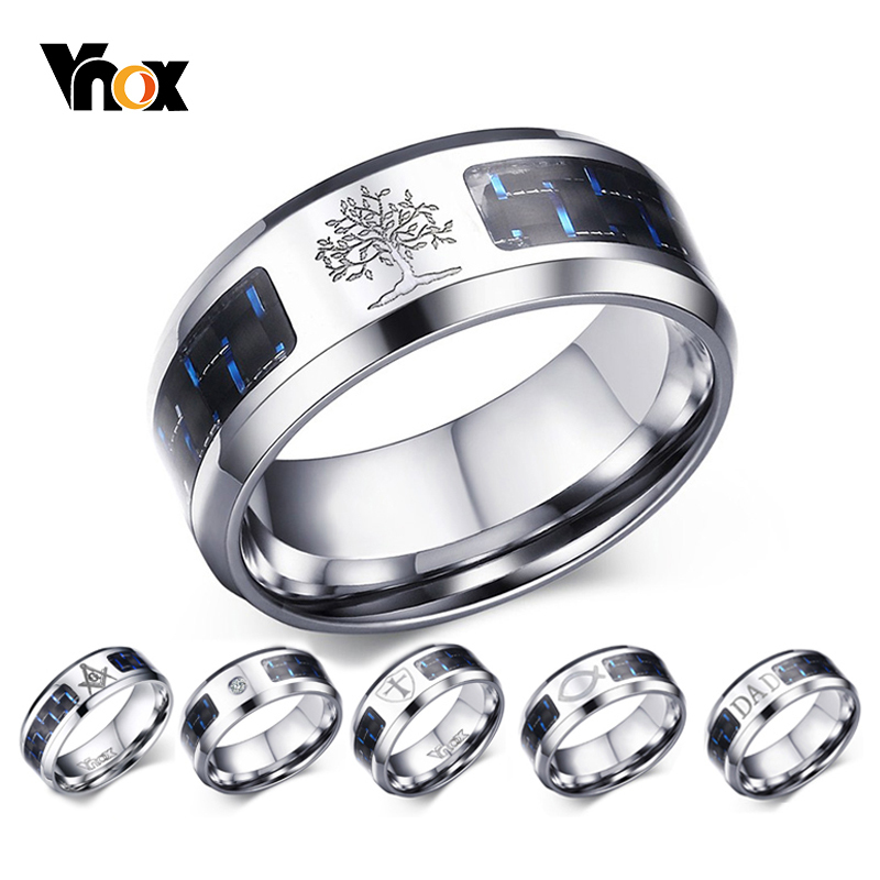 Vnox 8mm Personalize Carbon Fiber Ring For Man Engraved Tree Of Life Stainless Steel Male Alliance Casual Customize Jewelry Band