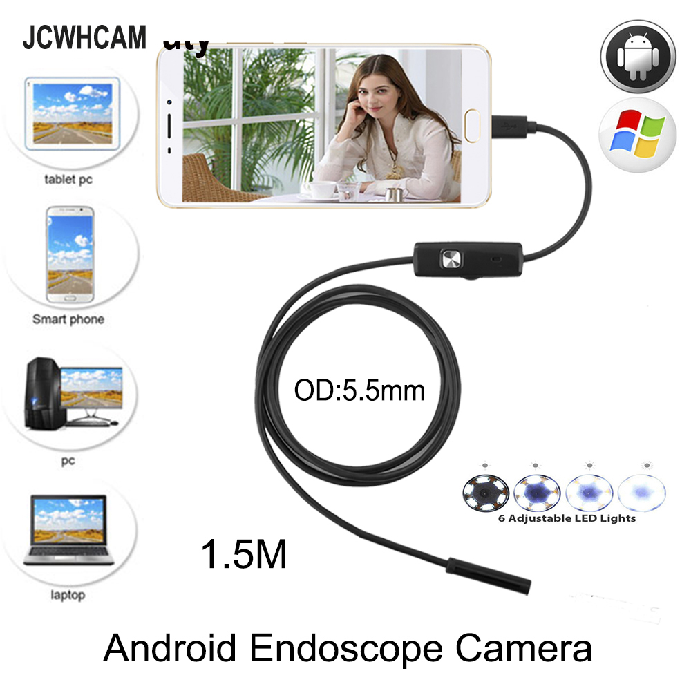JCWHCAM 5.5mm 1.5M Cable Waterproof Endoscope Camera 6 LED OTG USB Android Borescope Inspection Underwater Fishing Car PCB