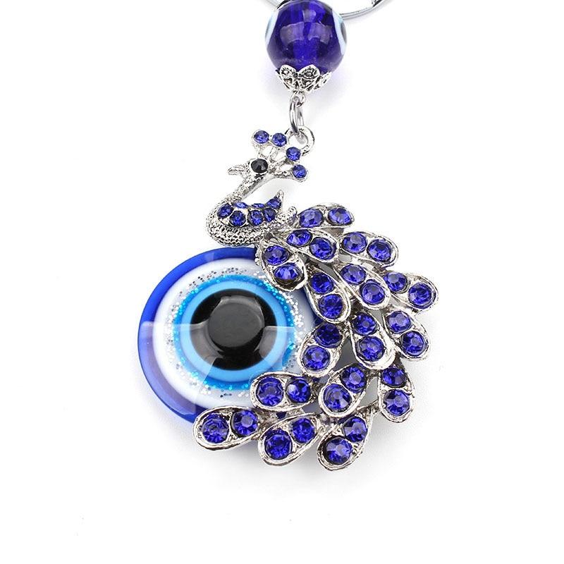 Fashion Blue Crystal Peacock Key Chain Key Ring Trinket Gift Purse Bag Evil Eye Jewelry