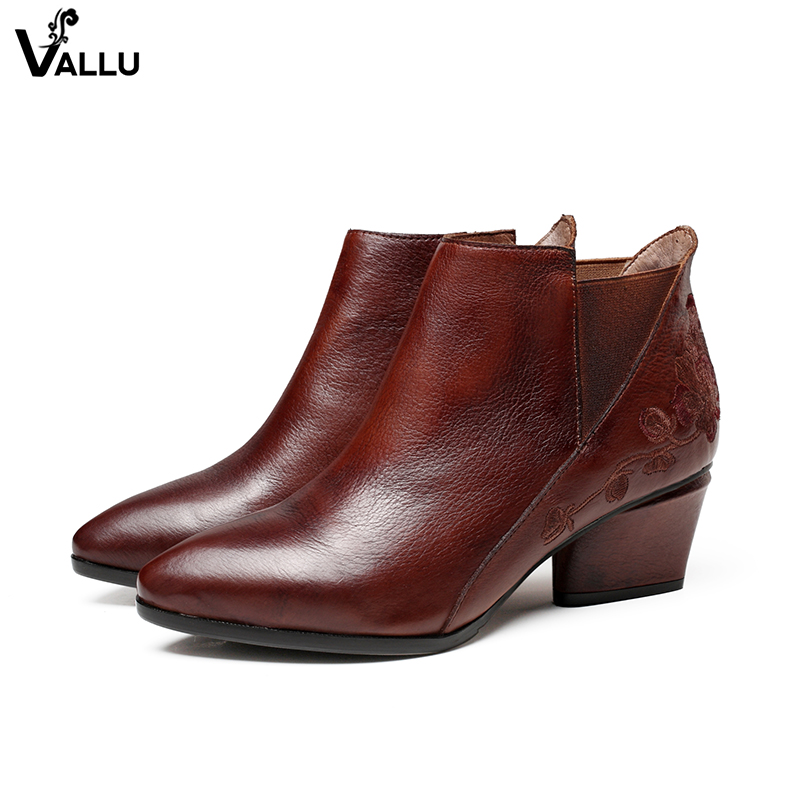 Low Cut Women' s Boots Embroider Flower Ankle Booties For Lady Natural Leather Pointed Toe Elastic Band Female Heeled Shoes